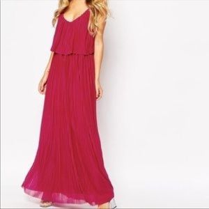 MNG Suit Collection Pleated Magenta Dress